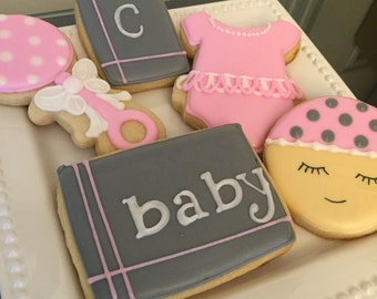 Baby girl themed cookies