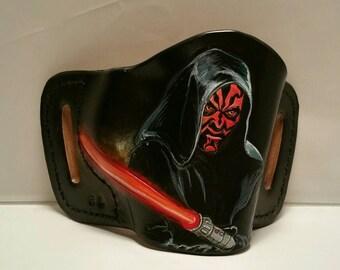 Star Wars gun holster leather holster dark side Darth Maul Custom Gun Holster Belt slide