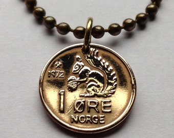 1959 to 1971 Norway 1 ore coin pendant Norwegian squirrel cute Norge Oslo nut acorn crown initial O V Scandinavian Nordic necklace n000104
