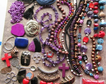 Big purple red brown blue Destash Mixed lot of beads and pendants. Gemstone, Wood, Metal, Glass