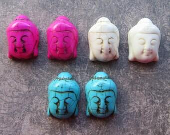 2 Large Howlite Magnasite Stone Buddha Head Focal Pendant Beads 29x20mm Ivory Turquoise Hot Pink Meditation Yoga Spiritual Jewellery Making