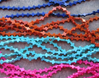 30 Small Howlite Cross Beads, Stone, Colourful Dyed Pink Brown Turquoise Pink Dark Blue Yellow Red Orange Green 10x8mm