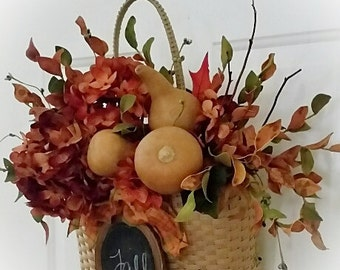 Fall Flower Basket for Door / Wall with gourds  and mini Chalkboard