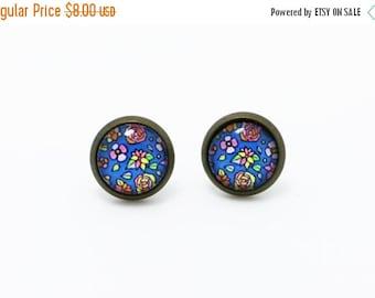 Cute Blue Floral Earrings, BOHO Bohemian Earrings, Children Stud Earrings, Flower Floral Earrings,Bridesmaids Earrings, Small Round Stud