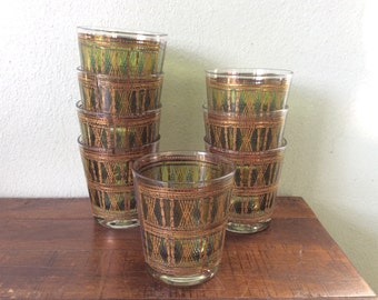 green gold barware, vintage wicker design lo ball glasses, striped old fashioned glassware, retro barware, bamboo design barware,2roads2take