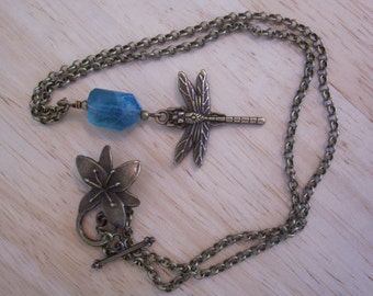 Beautiful handmade Dragonfly and flourite necklace in brass