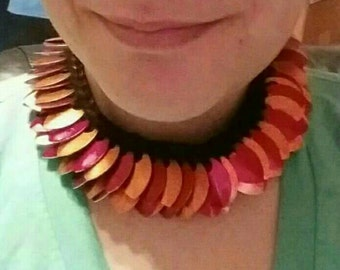 Red and orange Dragon scale crocheted necklace. Handmade.