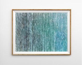 Abstract Painting, 9 x 12 Aqua Blue Canvas Art, Original Lines Striped Painting, Australian Art