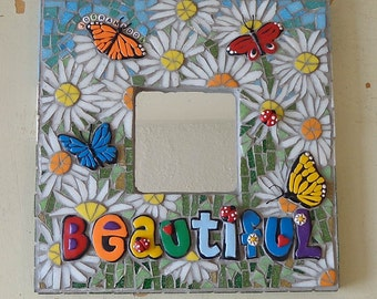 Mosaic Mirror, Glass Mosaic, Wallhanging, Home Decor, Possitive Message, Beautiful, Daisies, Butterflies and Ladybugs (10x10 inches)