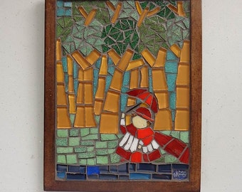 Mosaic Wall Art, Glass Mosaic, Wall Hanging, Handmade, Home Decor. Cardinal in the Woods inspired by Botero's paintings (about 8x6 inches)