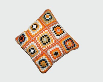 Vintage granny square pillow, Hand made in Finland