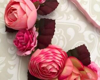 Silk floral elastic headband