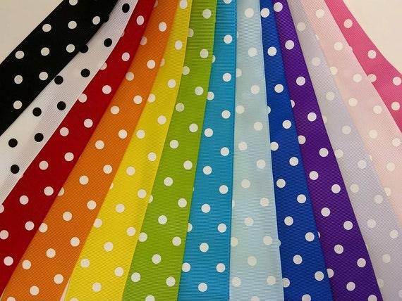 CLEARANCE - QTY 1 - 1.5 Inch Polka Dot Grosgrain Bundles - 65 Yards Total