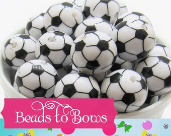 20mm Soccer Ball Beads, Black and White Soccer Beads, Bubblegum Soccer Ball Beads, Chunky Necklace Supply Bead, Soccer Mom Sports Bead