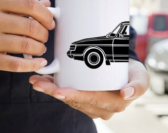 KillerBeeMoto: U.S. Made Limited Release Scandinavian Engineered Vintage Car On Coffee Mug (White)
