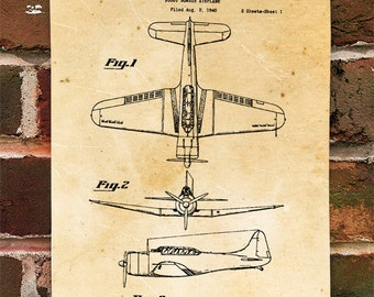 KillerBeeMoto: Duplicate of Original U.S. Patent Drawing For Vintage Douglas SBD Dauntless Bomber