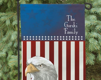 Personalized Garden Flag, Red, white and Blue Garden Flag, American Flag, USA