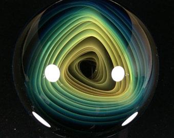 "Boro Marble - Fumed Triangle Vortex 1.9""- Borosilicate Marble - Handmade db Glass"