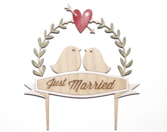 Weddind cake topper romantic design just married engraved