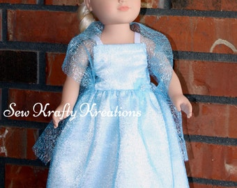 "Beautiful Blue Frozen Inspired Doll Gown for 18"" doll like American Girl"