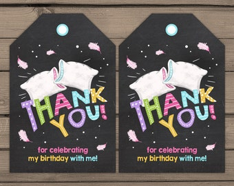 Slumber Party Favor Tags Sleepover birthday Thank you tags Slumber Party Label tags Pajama PJ Party Favor tags birthday Digital PRINTABLE
