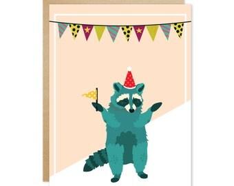 Handmade Blank Greeting Card – Party Animals Series (Green Raccoon)