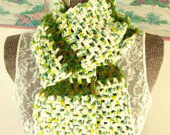 Green White Scarf, Crochet Fleece, Soft as a Baby's... Blanket, Mint Julep, Peppermint Candy, Neckwrap, Fresh Snow