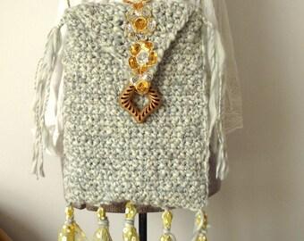 Handmade Purse, Original Design Bag, Gray Bag, Handmade Purse, Crossbody Bag, Fully Lined, Tassels, Indie Purse