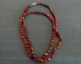 "VTG Red Venetian Glass Bead Necklace 14"" long Hand Tied Excellent Condition Murano Glass Barrel Clasp"