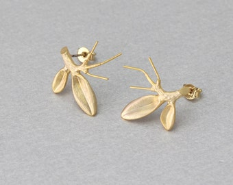 Branch Post Earring . Matte Gold Plated . 10 Pieces / C2076G-010