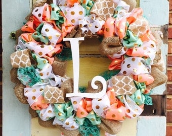 Baby Girl Coral/Mint Hospital Door Wreath
