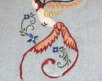 """Pair of hand towels - art deco swallow bird - EMBROIDERED 37 x19"""" terry cloth for bath, ready to ship"""
