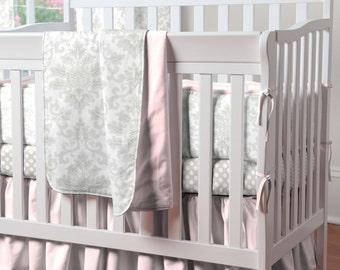 French Gray and Pink Damask Girl Mini Crib Bumper