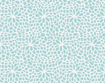 Seafoam Aqua Modern Mums Organic Fabric - By The Yard - Girl / Boy / Gender Neutral