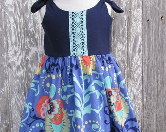 Boho Girls Dress, Vintage Style Infant Dress, Navy Turquoise Baby Dress, Toddler Girls Dress, Retro Toddler Dress, Sundress, Bohemian Baby