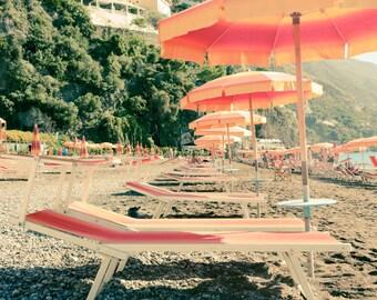 Italy Photography, Summer Holiday, Amalfi Coast, Italy, Beach Photography, Italian Home Decor, Beach Art, Bedroom Art, Positano Umbrellas