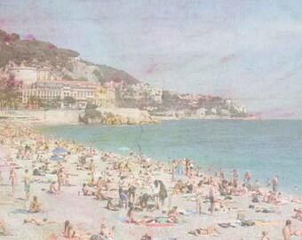France Photography - Fine Art Photography - Beach Photography - Nice France - Vintage Beach Photography - Vintage Art Print