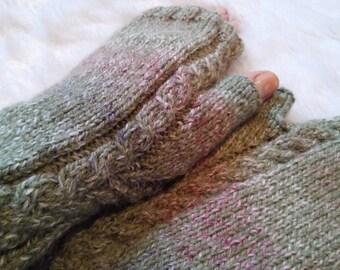 Fingerless Mittens Knit Cable Fingerless Gloves Gradient Green