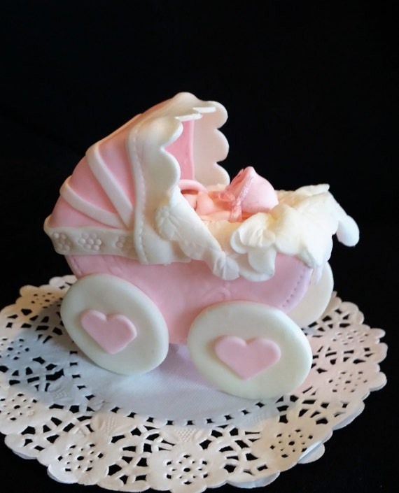 Baby Carriage Cake Topper Baby Boy Centerpiece Blue Carriage