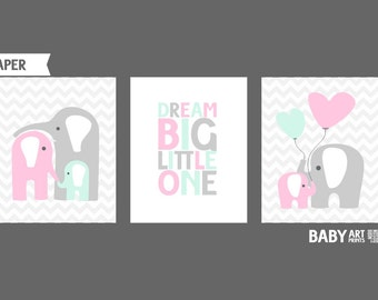 Pink, Mint and Grey Girl Nursery art, Elephants, Dream Big Little one, Set of 3 8x10 ( NPHO810016 )