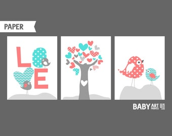 Baby Girl Nursery art prints, Set of 3 11x14. Love, Birds, Tree, Coral and Turquoise nursery ( NPHO1114017 )