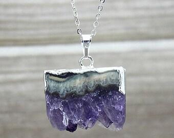 Amethyst Pendants // Silver Amethyst // Quartz Druzy Pendant // Amethyst necklace // Chakra necklace // Irregular stone jewelry B968