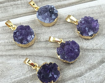 Amethyst Druzy Crystal Quartz Station Round Pendant With Electroplated 24k Gold Edge