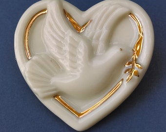 Vintage Lenox heart with dove  24K gold fine porcelain pin/brooch