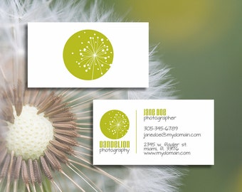 Customizable, Predesigned, Double Sided Dandelion Business Card, Mommy Card or Calling Card