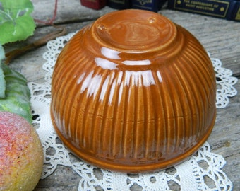 Vintage Primitive American Brown Pottery Small Mixing Bowl