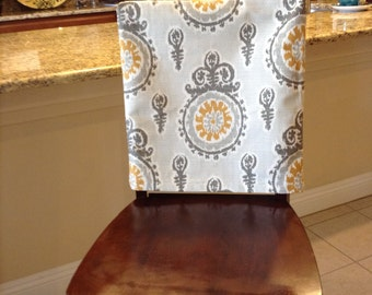 Custom Chairback Covers In Michelle Birch Fabric Has Gray Tones W Yellow Accents A Medallion