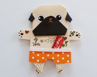 SALE Funny Handmade Pug Magnet, Origami Paper doll, Paper art, Origami Dog Magnet, Handmade Paper Pug, Cute Magnet