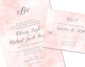 Blush Watercolor Wedding Invitation | Pink Painted Wedding Invitation | DIY Option Available | Invitation | RSVP | Info Card #141
