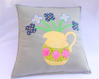 Applique cushion, handmade cushion, grey cushion, flower applique, jug applique, scatter cushion, envelope back